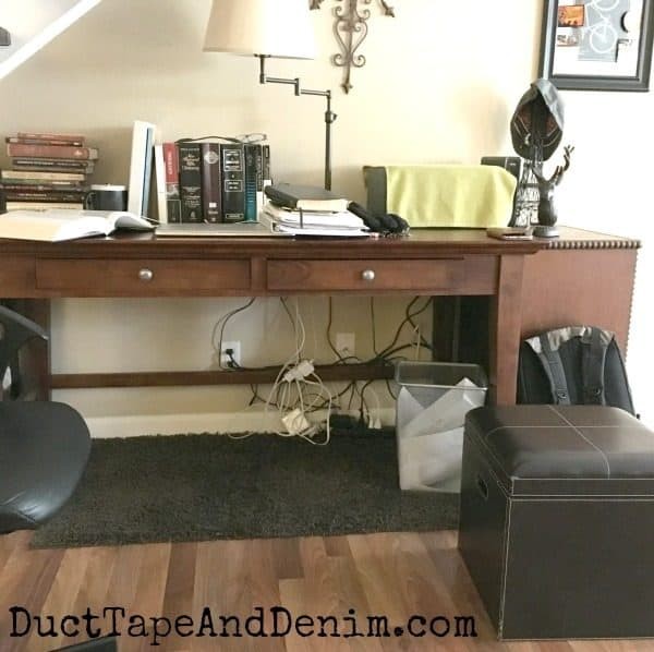 Hubby's desk BEFORE. How to hide cords on DuctTapeAndDenim.com