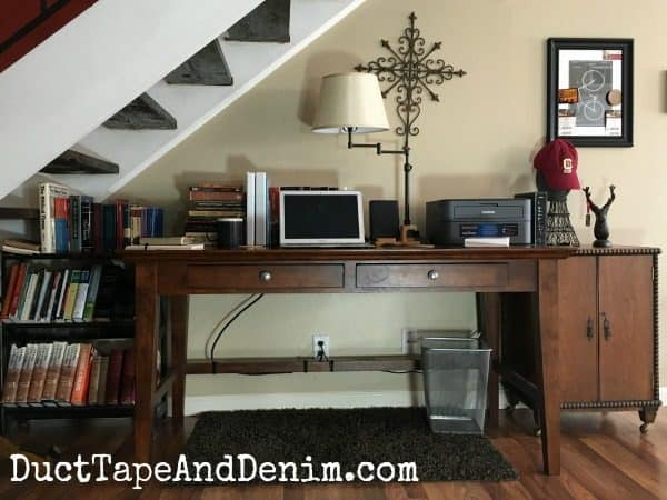 Finished desk. How to hide cords for computer and charging station. | DuctTapeAndDenim.com