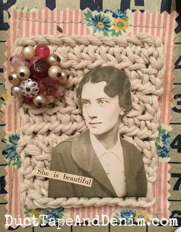 Close up of my grandmother's Bingo card collage. | DuctTapeAndDenim.com