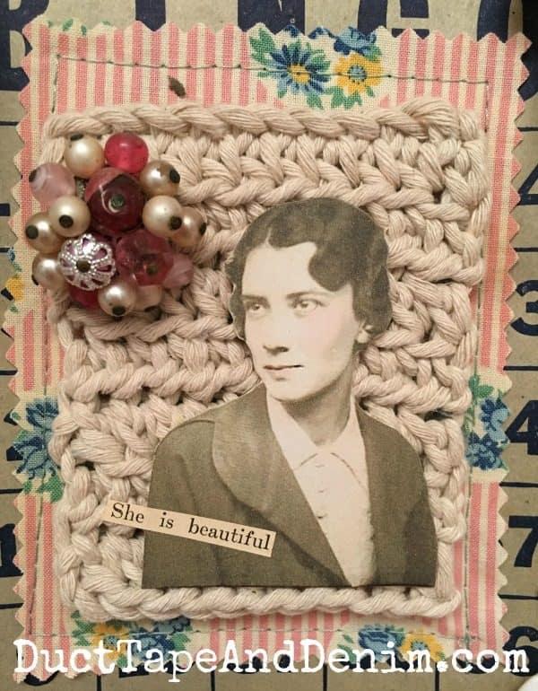 Close up of my grandmother's Bingo card collage.   DuctTapeAndDenim.com