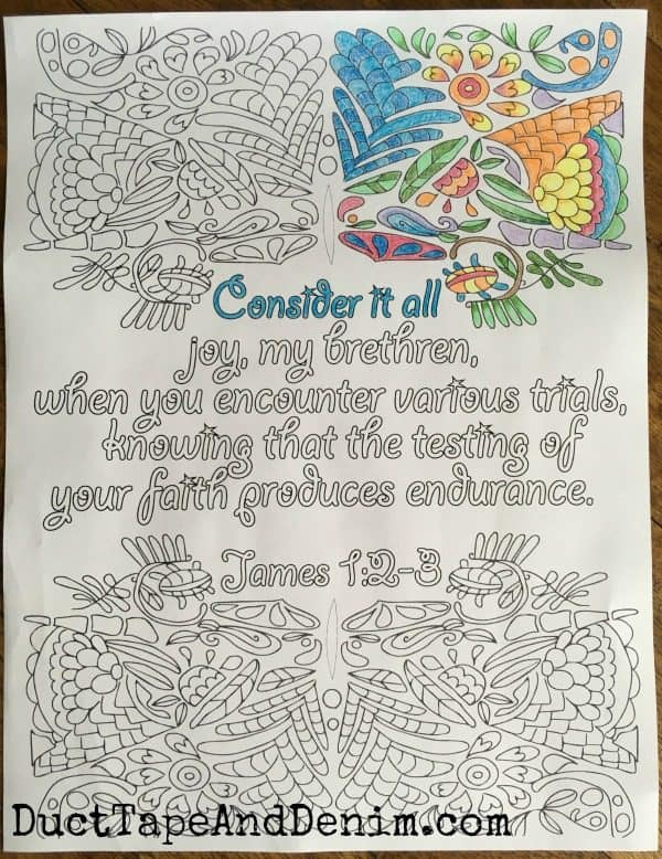 James 1:2-3 FREE Bible verse coloring page. More on DuctTapeAndDenim.com
