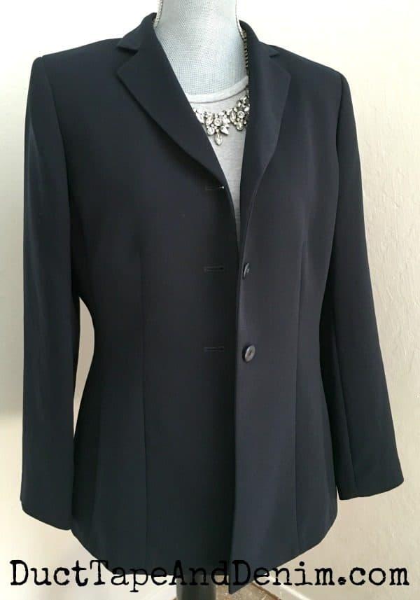 Navy blazer ~ spring jackets ~ thrift store finds ~ DuctTapeAndDenim.com