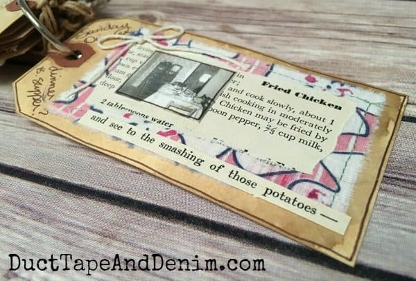 Shipping tag memory album for my grandmother with vintage fabric and rhinestone button
