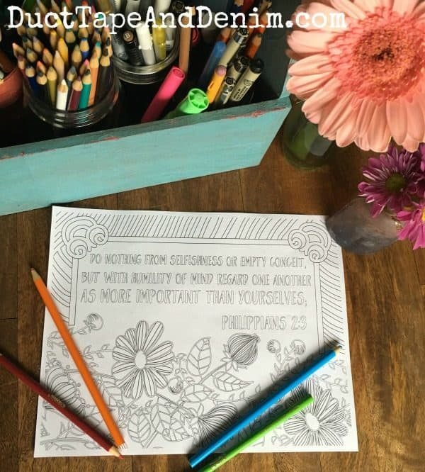 Philippians 2:3 and more FREE Scripture coloring pages on DuctTapeAndDenim.com