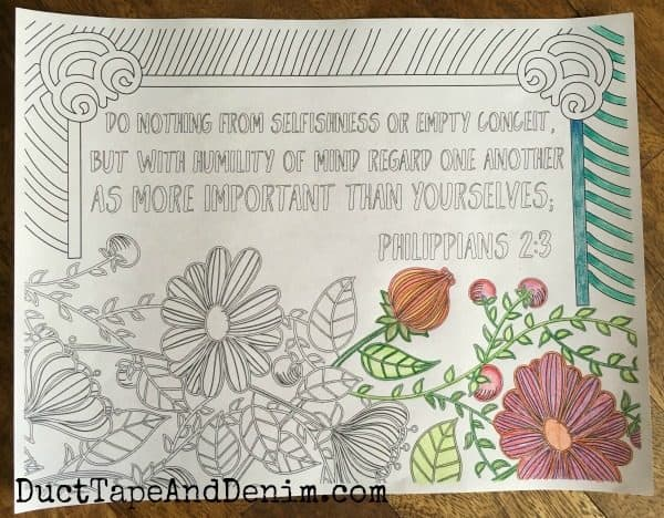 Philippians 2 3, corner finished ~ FREE Scripture coloring pages | DuctTapeAndDenim.com