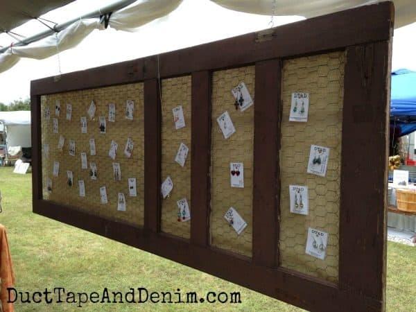 Screen door to display earrings at Antique Alley Texas flea market   DuctTapeAndDenim.com