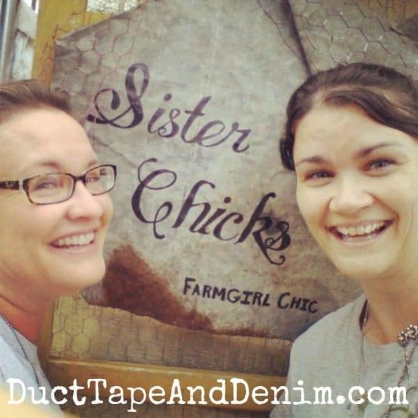 Sister Chicks with their sign at Antique Alley Texas flea market | DuctTapeAndDenim.com
