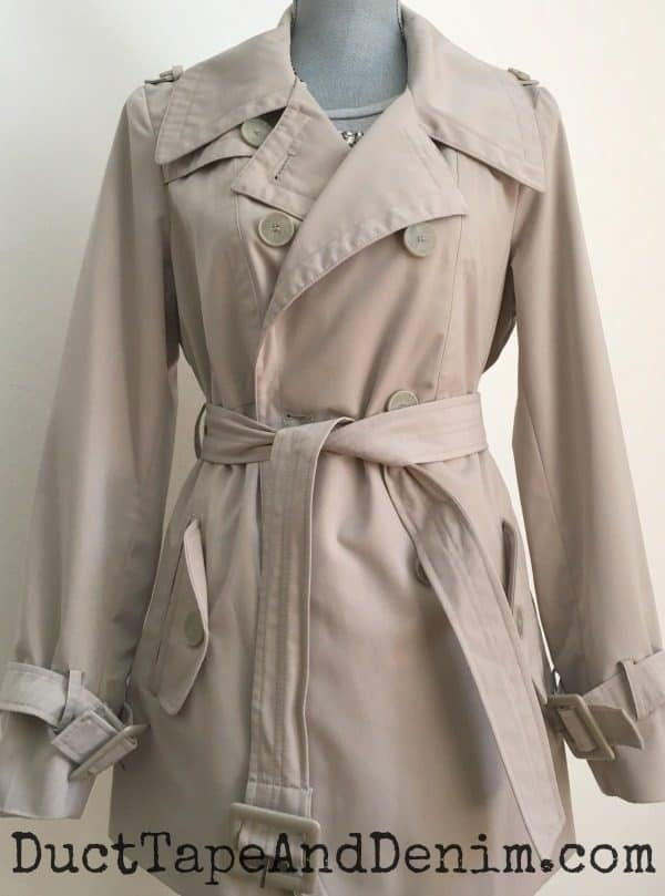 Trench coat ~ spring jackets from Goodwill ~ thrift store fashion style ~ DuctTapeAndDenim.com