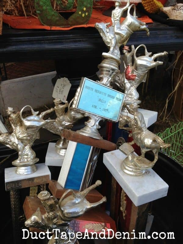 old bull riding trophies at flea market