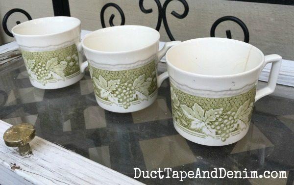 Vintage teacups, planting succulents | DuctTapeAndDenim.com