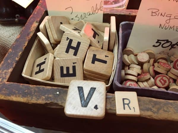 I found these large, GIANT, Scrabble tiles at the Mes Amis Vintage Market