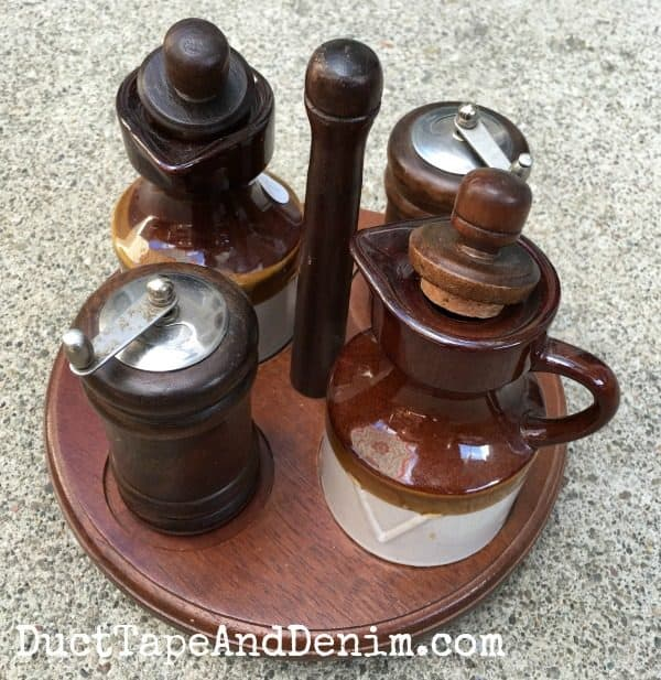 BEFORE - Thrift store salt, pepper set before painting | DuctTapeAndDenim.com