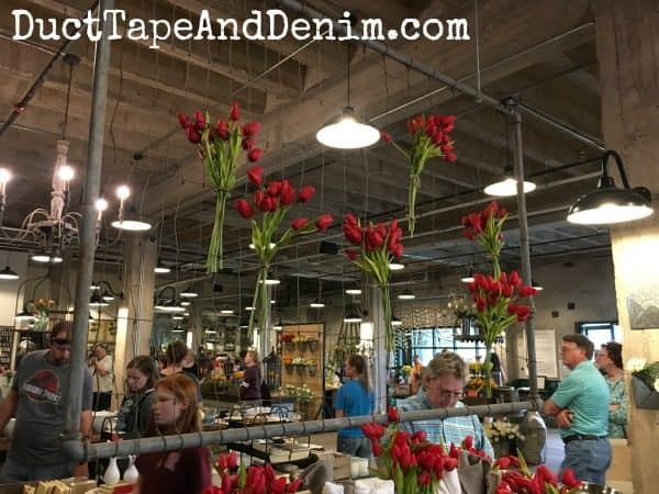 Beautiful floral and vintage displays at Magnolia Market. See more photos on DuctTapeAndDenim.com