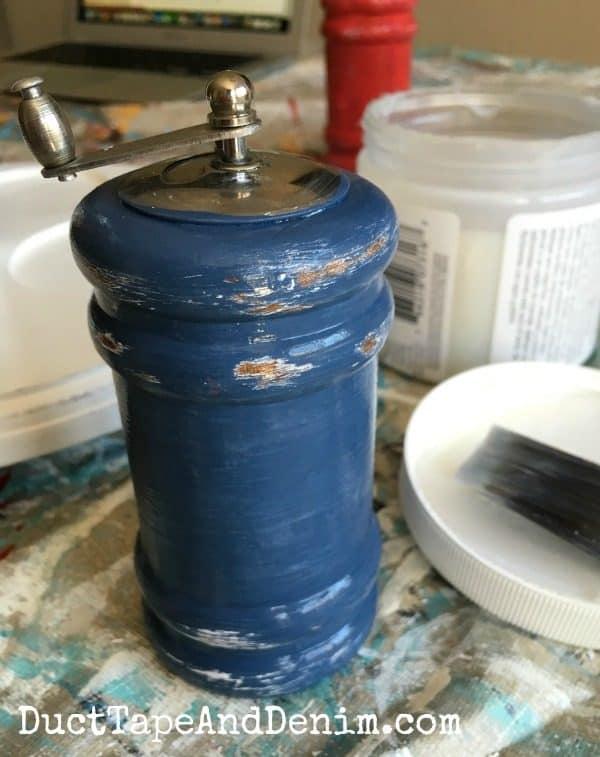 Distressed blue paint on thrift store salt pepper shaker. | DuctTapeAndDenim.com