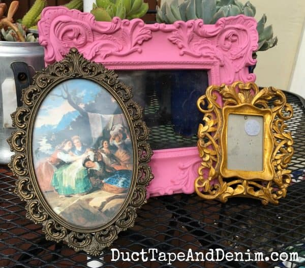 DIY Picture frame project. Frames from thrift store BEFORE painting. See finished chalk painted frames on DuctTapeAndDenim.com