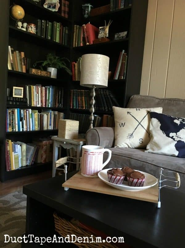 My DIY upcycle thrift store tray being used in our living room | DuctTapeAndDenim.com