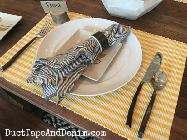 Place setting with chalkboard napkin rings at Harp Design in Waco | DuctTapeAndDenim.com