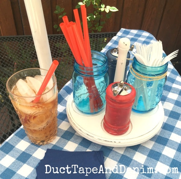 Red, White, and Blue Upcycle Salt and Pepper Picnic Caddy