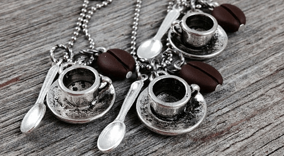 Coffee Jewelry… Necklaces, Key Rings, & Ornaments