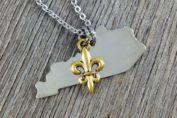 Simple Silver Kentucky State Necklace with gold fleur de lis charm | DuctTapeAndDenim.com