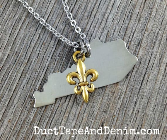 Simple Silver Kentucky State Necklace with gold fleur de lis charm | DuctTapeAndDenim.com