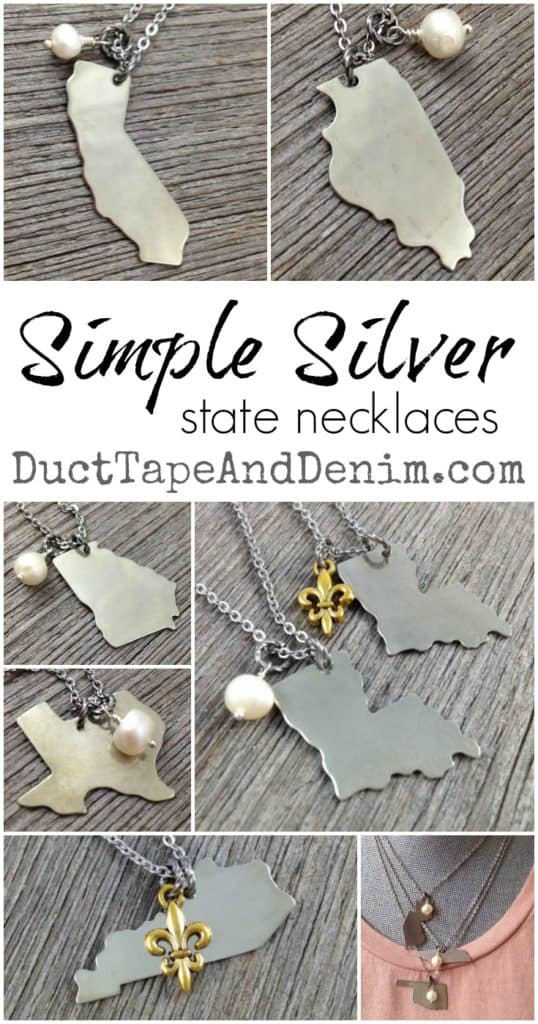 Simple Silver State Necklaces collage of states. Kentucky, Texas, Georgia, Louisiana, Indiana, Illinois | DuctTapeAndDenim.com