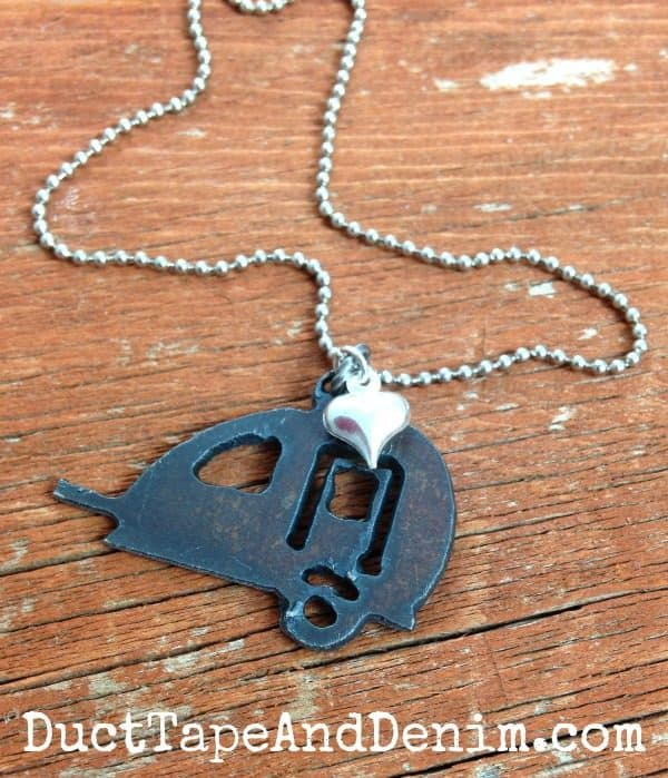 Small rustic vintage teardrop camper necklace available on DuctTapeAndDenim.etsy.com