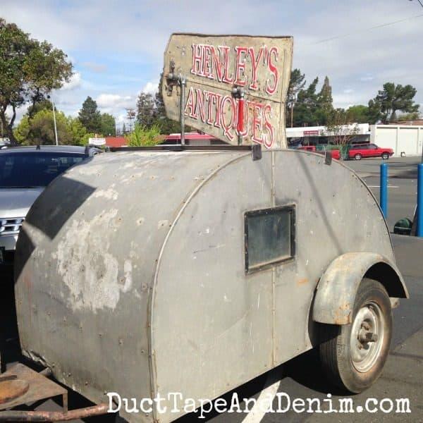 Vintage teardrop camper at a local antique shop   DuctTapeAndDenim.com