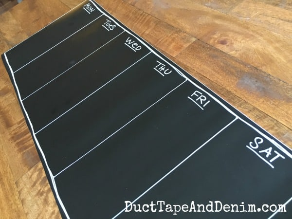 Chalkboard meal planner for the fridge
