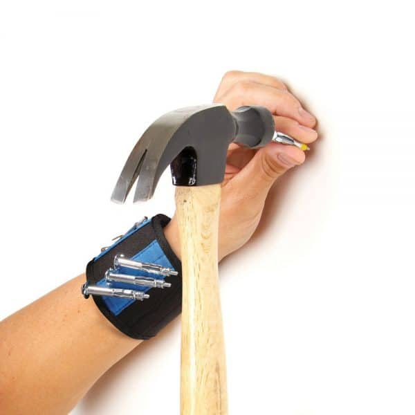 Magnetic wristband to hold nails or screws