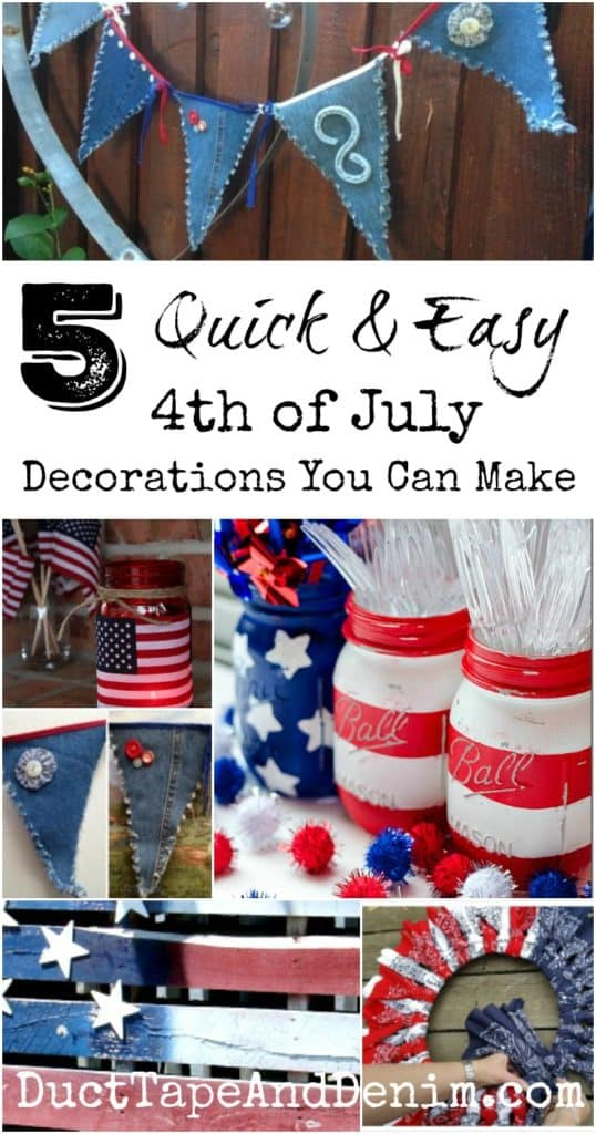 5 Quick easy July 4th decorations you can make, more patriotic DIY crafts on DuctTapeAndDenim.com