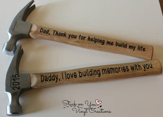 Custom hammers for dads. More gift ideas for men on DuctTapeAndDenim.com