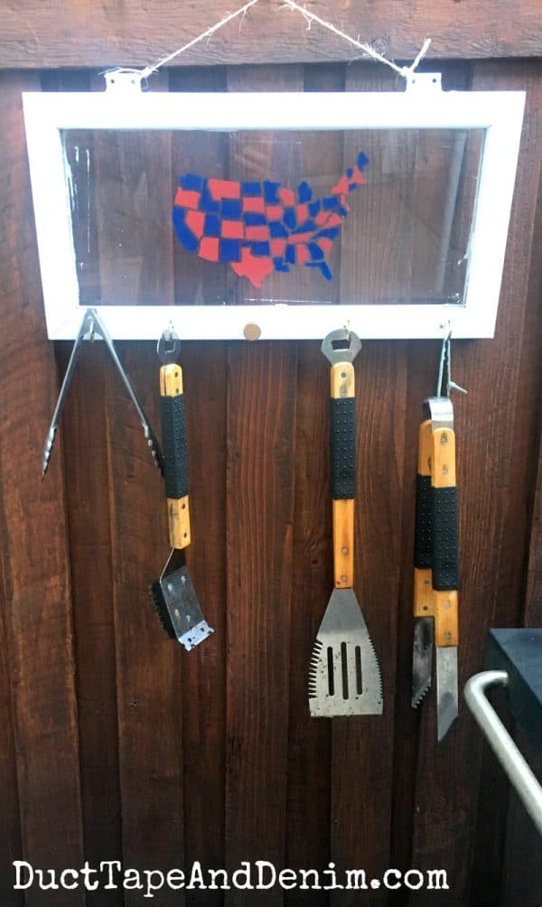Finished BBQ grill utensil holder upcycled from old window | DuctTapeAndDenim.com