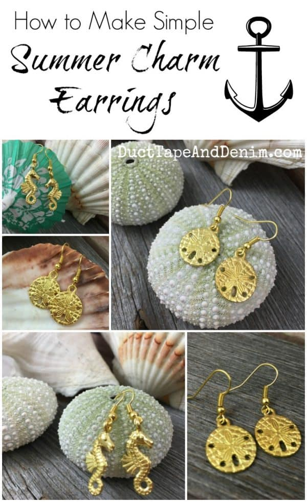 How to make simple gold summer charm earrings | DuctTapeAndDenim.com
