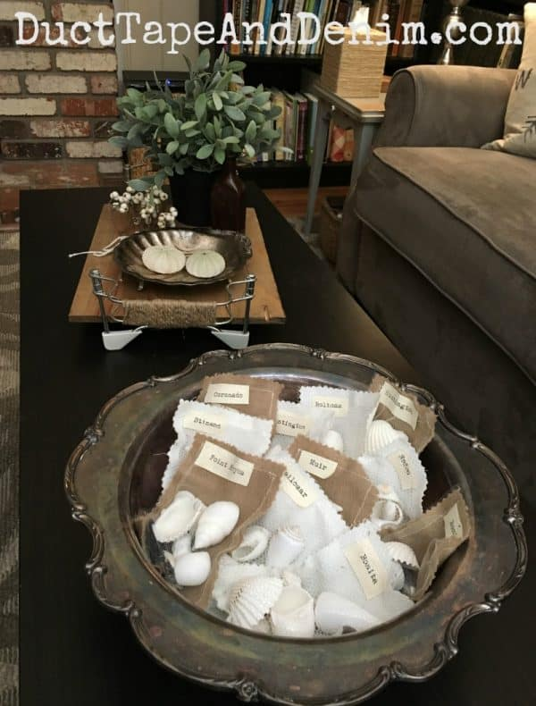 Summer shell packets on my coffee table | DuctTapeAndDenim.com