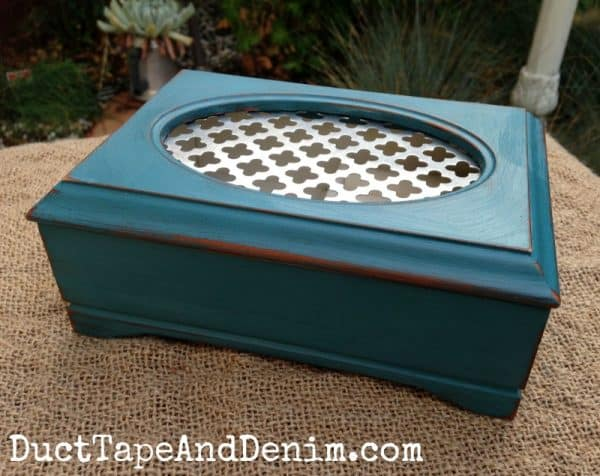 Thrift store jewelry box upcycled with teal chalk paint | DuctTapeAndDenim.com