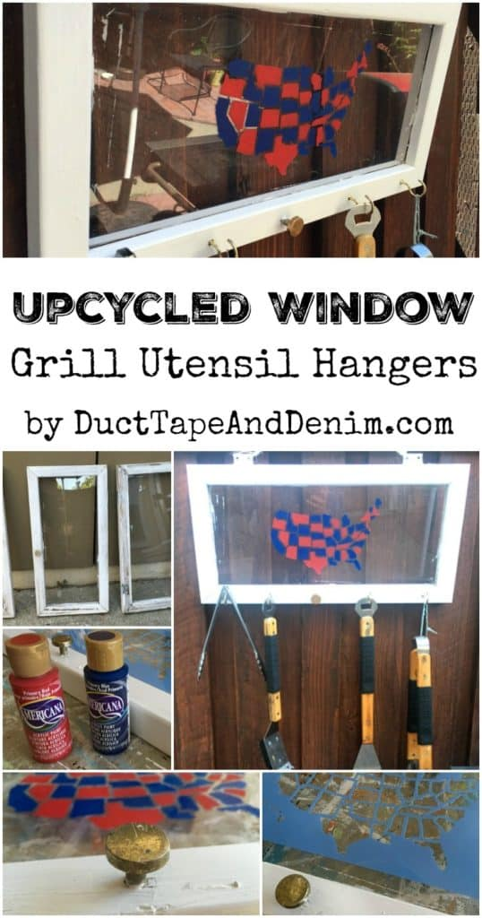 Upcycled Window BBQ Grill Utensil Hangers ~ summer patio organization ~ 4th of July decorations ~ DuctTapeAndDenim.com