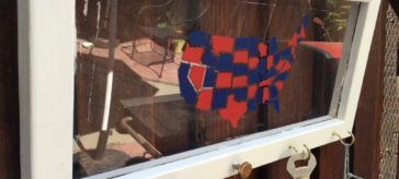 Upcycled window from thrift store, USA map stencil, BBQ utensil holder for patio | DuctTapeAndDenim.com