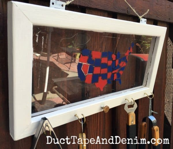 Upcycled window from thrift store, USA map stencil, BBQ grill utensil holder for patio | DuctTapeAndDenim.com