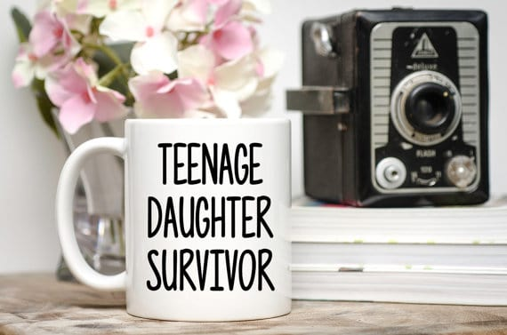 Teenage Daughter Survivor mug. More ideas for dad gifts on DuctTapeAndDenim.com