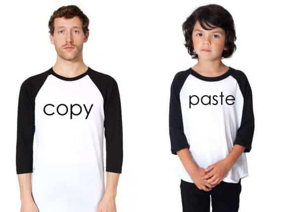 Copy Paste matching father son t-shirts. More Father's Day gift ideas on DuctTapeAndDenim.com
