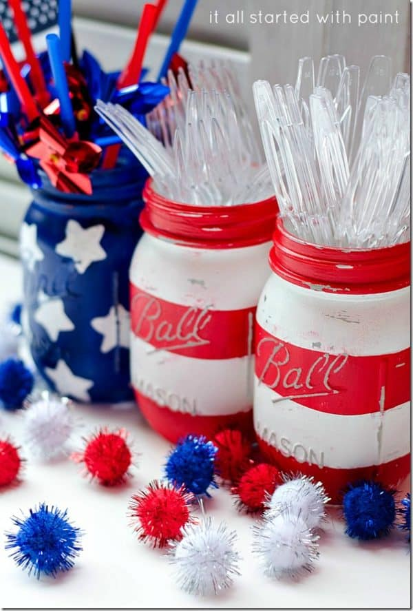 Red, white, blue painted mason jars for 4th of July. More DIY decorations on DuctTapeAndDenim.com