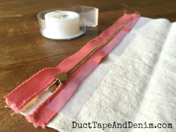 Tape down zipper instead of pin | DuctTapeAndDenim.com
