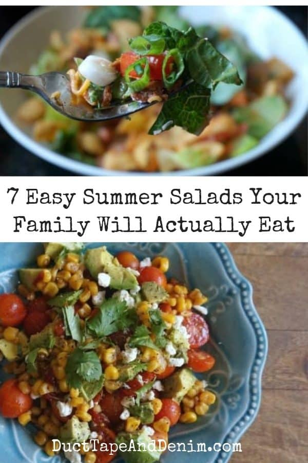 collage of salads with title 7 easy summer salads