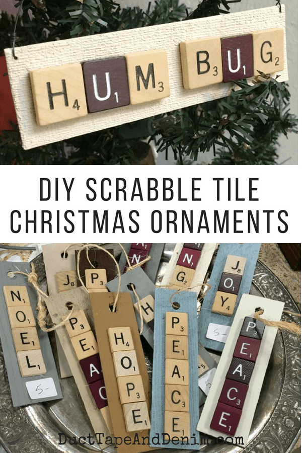 DIY Scrabble Tile Christmas Ornaments, collage 1