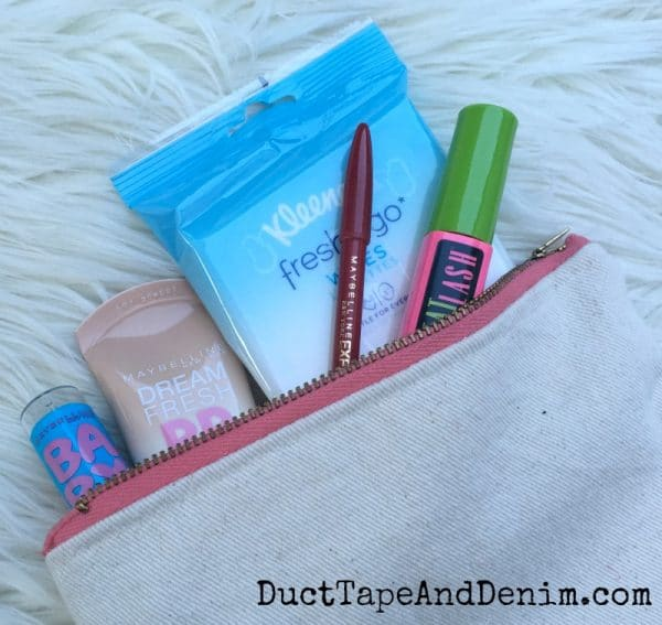 Basic beauty supplies for travel in DIY makeup bag | DuctTapeAndDenim.com
