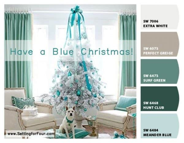 Turquoise blue Christmas tree, more Christmas decor ideas on DuctTapeAndDenim.com