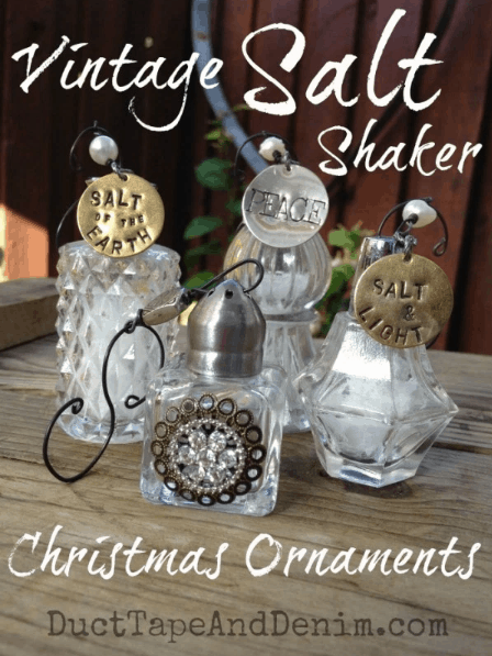 Vintage salt shaker Christmas ornaments. More DIY Christmas ornament ideas on DuctTapeAndDenim.com