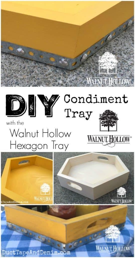DIY Condiment Tray made with Walnut Hollow Hexagon Tray | DuctTapeAndDenim.com