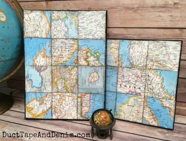 World map art collage on canvas diy world map art canvases ducttapeanddenim gumiabroncs Image collections